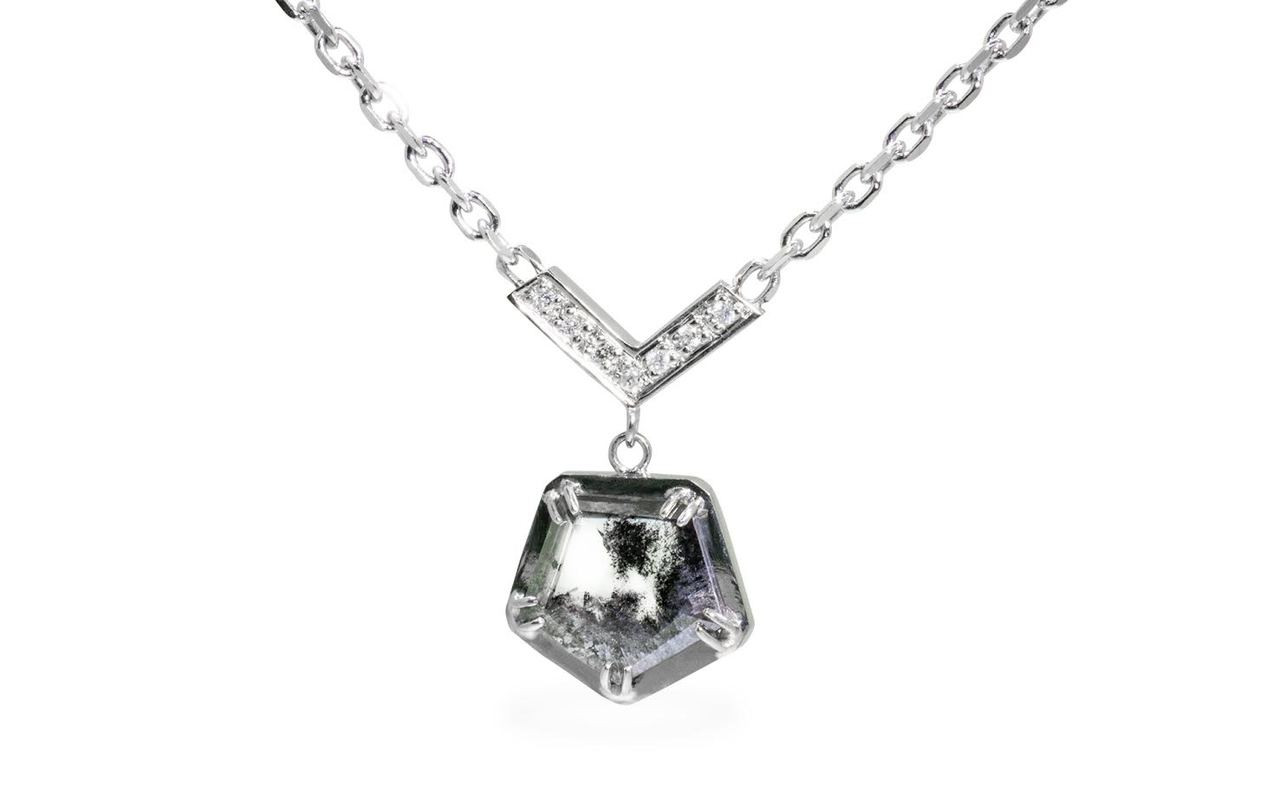 MALLAHLE Necklace in White Gold with 1.32 Carat Salt and Pepper Diamond