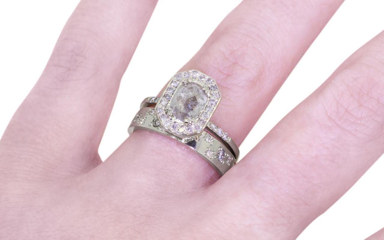KATLA Ring in White Gold with .92 Carat Gray Center Diamond
