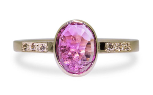 1.12 Carat Pink Tourmaline Ring in Yellow Gold