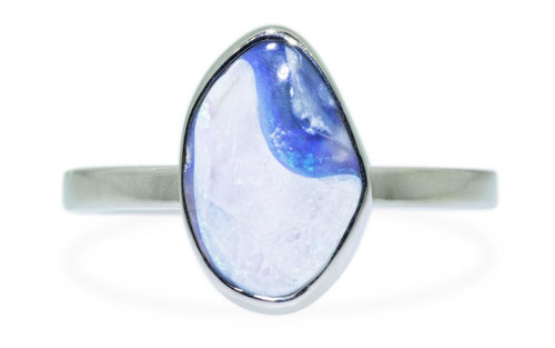 1.86 Carat Australian Lightning Ridge Opal Ring in White Gold