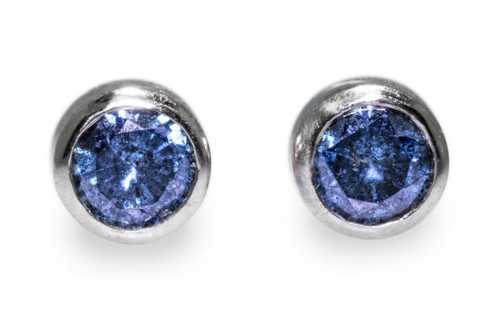 Blue Diamond Earrings in White Gold