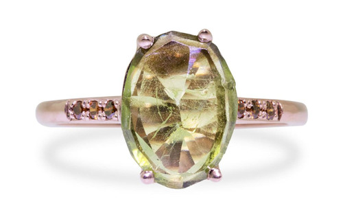 2.2 Carat Green Sapphire Ring in Rose Gold