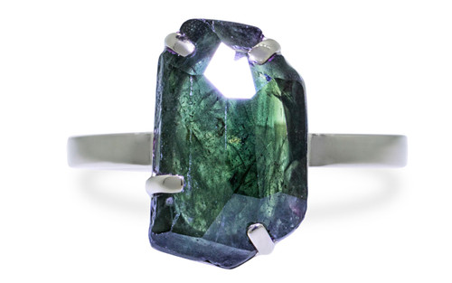 4.28 Carat Hand-Cut Blue/Green Sapphire Ring in White Gold
