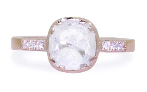 1.55 Carat Rustic White Diamond Ring in Rose Gold