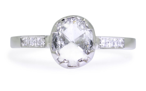 1.10 Carat Light Salt and Pepper Diamond Ring in White Gold