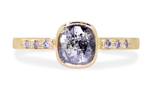 .69 Carat Salt and Pepper Diamond Ring in Yellow Gold