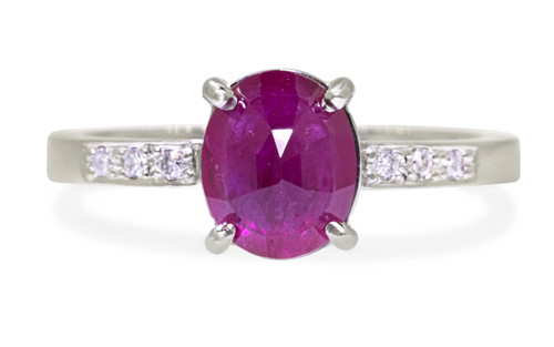 1.75 Carat Ruby Ring in White Gold