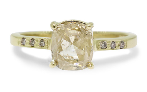 1.54 Carat Light Champagne Diamond Ring in Yellow Gold