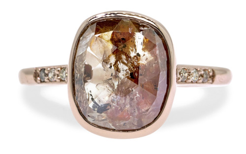 2.70 Carat Rustic Champagne and Cognac Diamond Ring in Rose Gold