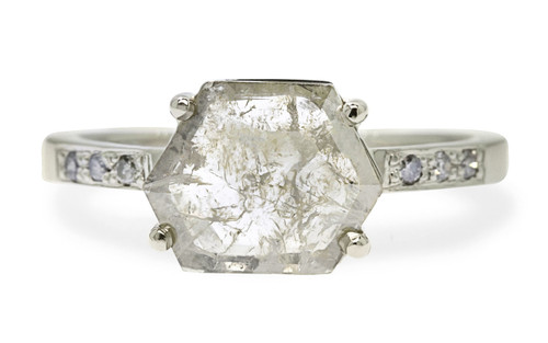 1.04 Carat Light Champagne/White Diamond Ring in White Gold