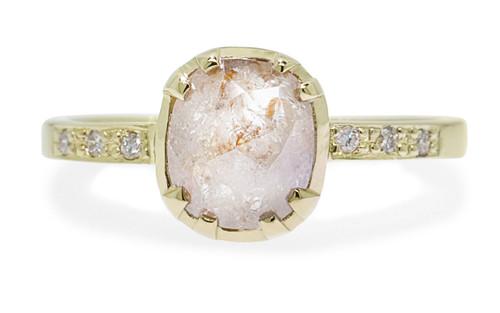 1.45 Carat Light Peach Diamond Ring in Yellow Gold