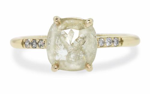 1.43 Carat Light Cream Diamond Ring in Yellow Gold