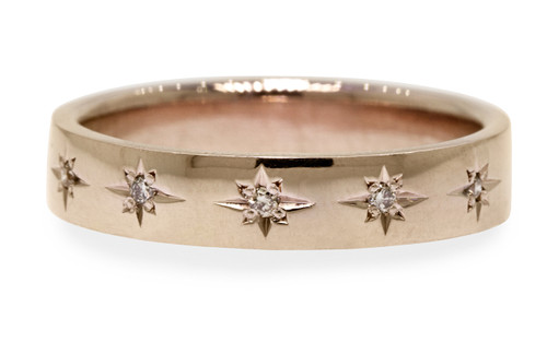 CM Star Wedding Band with Champagne Diamonds