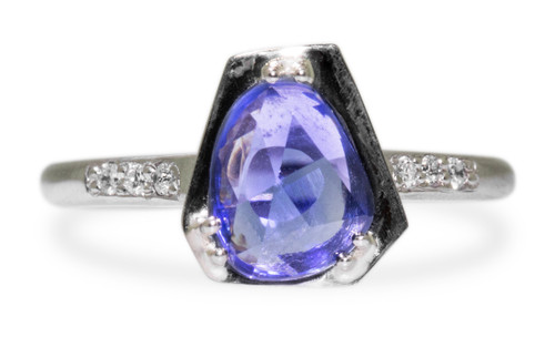 KIKAI Ring in White Gold with .93 Carat Blue Sapphire