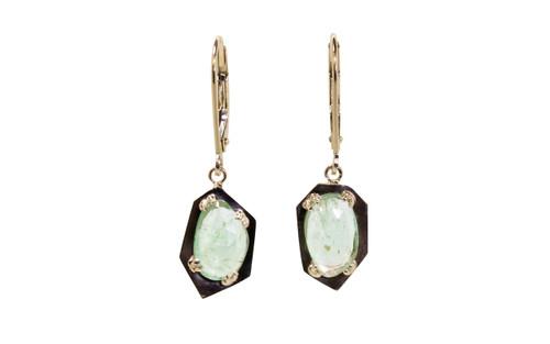 KIKAI Dangle Earrings in Yellow Gold with 2.13 Carat Emeralds