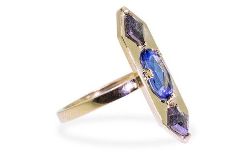 SANTORINI Ring in Yellow Gold with .48 Carat Salt and Pepper Diamonds and 1.03 Carat Blue Sapphire