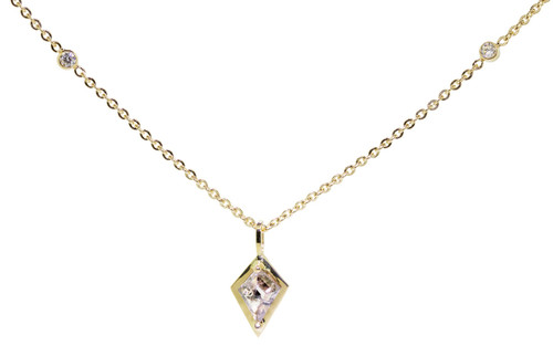 TOBA Necklace in Yellow Gold with .52 Carat Rustic Champagne Diamond