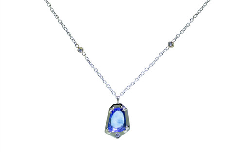 KIKAI Necklace in White Gold with 1.92 Carat Blue Sapphire