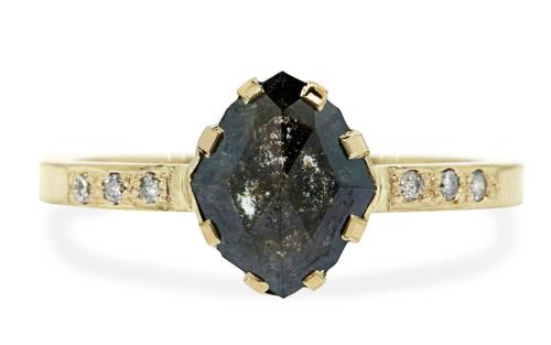 1.04 Carat Natural Black Diamond Ring in Yellow Gold