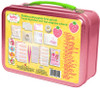 "Strawberry Shortcake First Aid Kit: First aid for everyday bumps and bruises Kids first aid kit includes 75 pieces Set includes anti-itch cream, pain relief spray, 6 gauze pads (2"" x 2""), 4 soft gel fever patches, 10 antiseptic wipes, 15 large bandages (2.82"" x .75""), 15 small bandages (2.20"" x .75""), 1 small rectangle bandage, 8 get well stickers, 10 cotton balls and an emergency contact card Kit includes a pink carrying case with the likeness of Strawberry Shortcake on the front"
