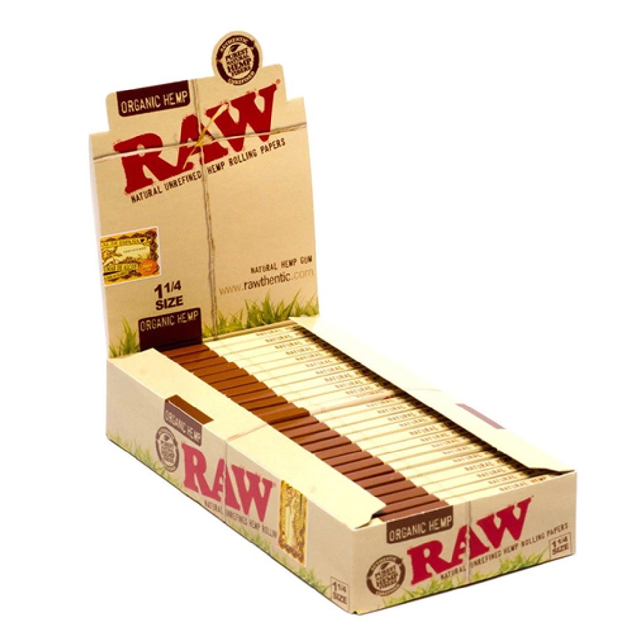 Raw Organic Hemp Rolling Papers 1 1/4 (Display of 24)