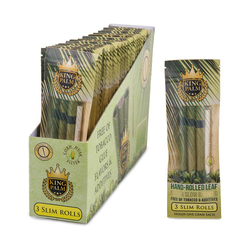 King Palm Hand Rolled Leaf - Slim Rolls 3pk (Display Box of 24 Units)