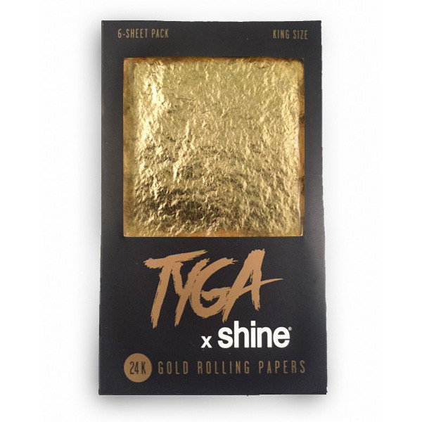 Shine Tyga 24 K Gold King Sized Rolling Papers - 6 Sheets