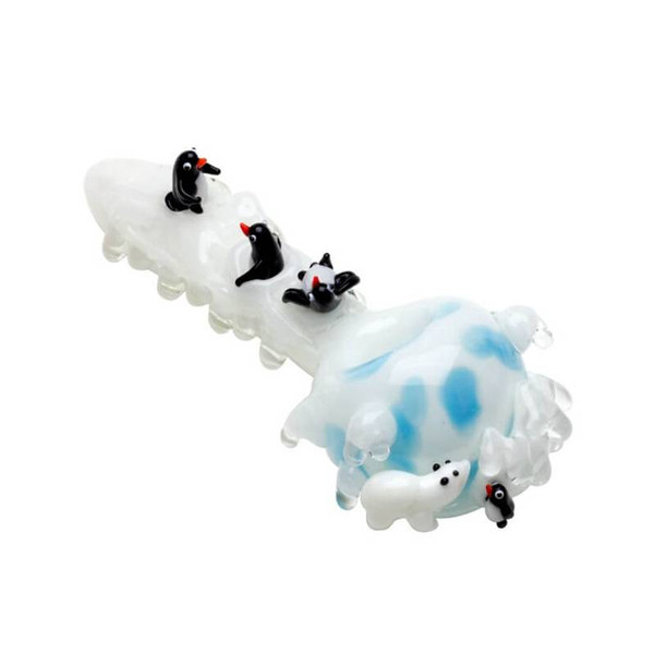 """Empire Glassworks - 4"""" Spoon Pipe - Icy Penguins"""