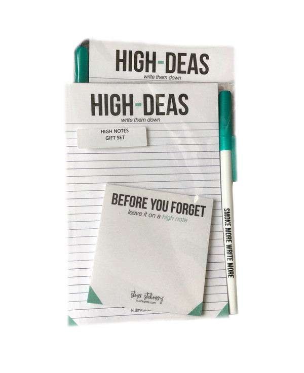 KushKards Stationery Set with Notepad, Post-It, and Pen
