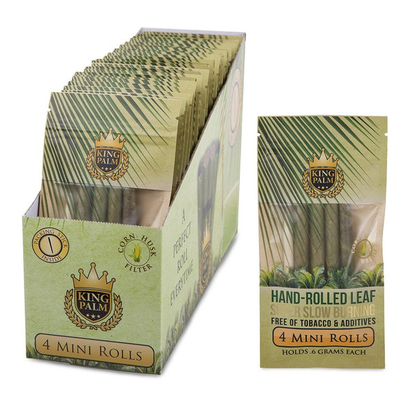King Palm Hand Rolled Leaf - Mini Rolls 4pk (Display Box of 24 Units)