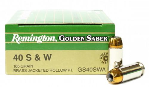 Surplus Ammo, Surplusammo.com 40 S&W 165 Grain JHP Remington Golden Saber Ammunition