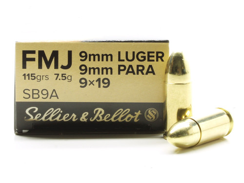 Surplus Ammo | Surplusammo.com 9mm 115 Grain FMJ Sellier & Bellot Ammunition