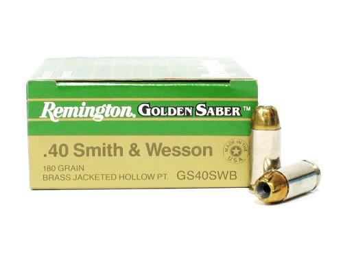 Surplusammo.com   Surplus Ammo 40 S&W 180 Grain JHP Remington Golden Saber Ammunition