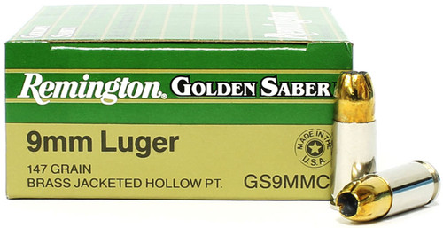Surplusammo.com | Surplus Ammo 9mm 147 Grain JHP Remington Golden Saber 29422 / GS9MMC