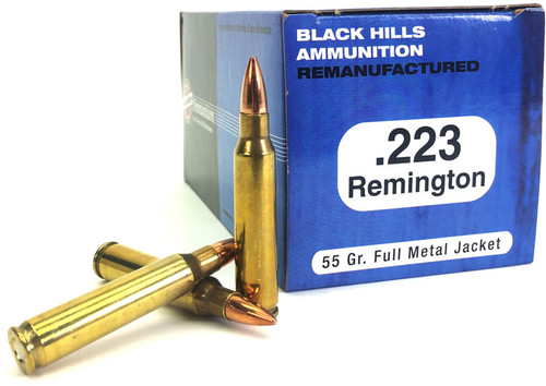 .223 55 Grain FMJ Black Hills  - 1000 Rounds, Factory Reman. - FREE SHIPPING