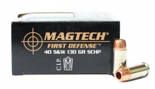 Surplus Ammo | Surplusammo.com 40 S&W 130 Grain SCHP Magtech First Defense Ammunition