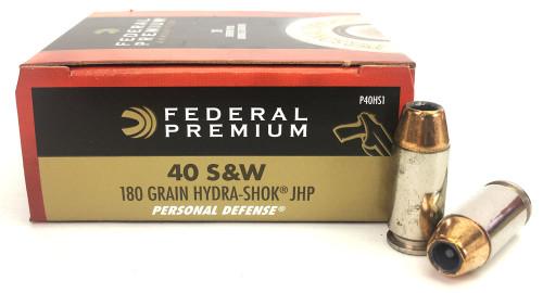40 S&W 180 Grain Hydra-Shok JHP Federal Premium - 20 Rounds FDP40HS1