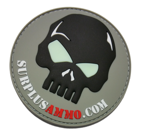 SurplusAmmo.com 3D Skull - PVC Morale Patch Black, White, Gray, Red & Glow PVC Velcro Patch Glow In the Dark Eyes