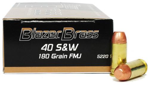 Surplus Ammo | Surplusammo.com 40 S&W 180 Grain FMJ Blazer Brass Ammunition