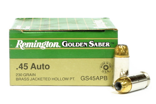 Surplus Ammo | Surplusammo.com 45 ACP 230 Grain JHP Remington Golden Saber Ammunition