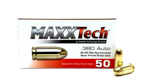Surplus Ammo | Surplusammo.com .380 Auto 95 Grain FMJ MAXXTech Brass Cased - 500 Rounds PTGB380B