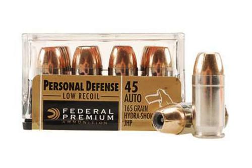 Surplus Ammo | Surplusammo.com 45 ACP 165 Grain Hydra-Shok JHP Low-Recoil Federal Premium Ammunition