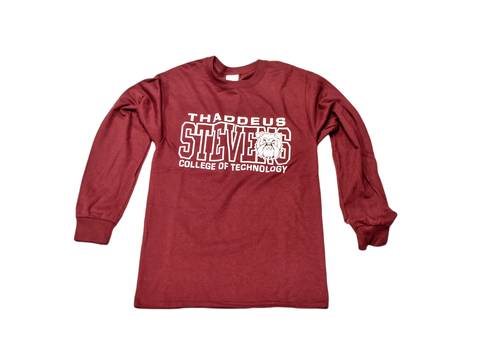 Burgundy and white long sleeved t-shirt