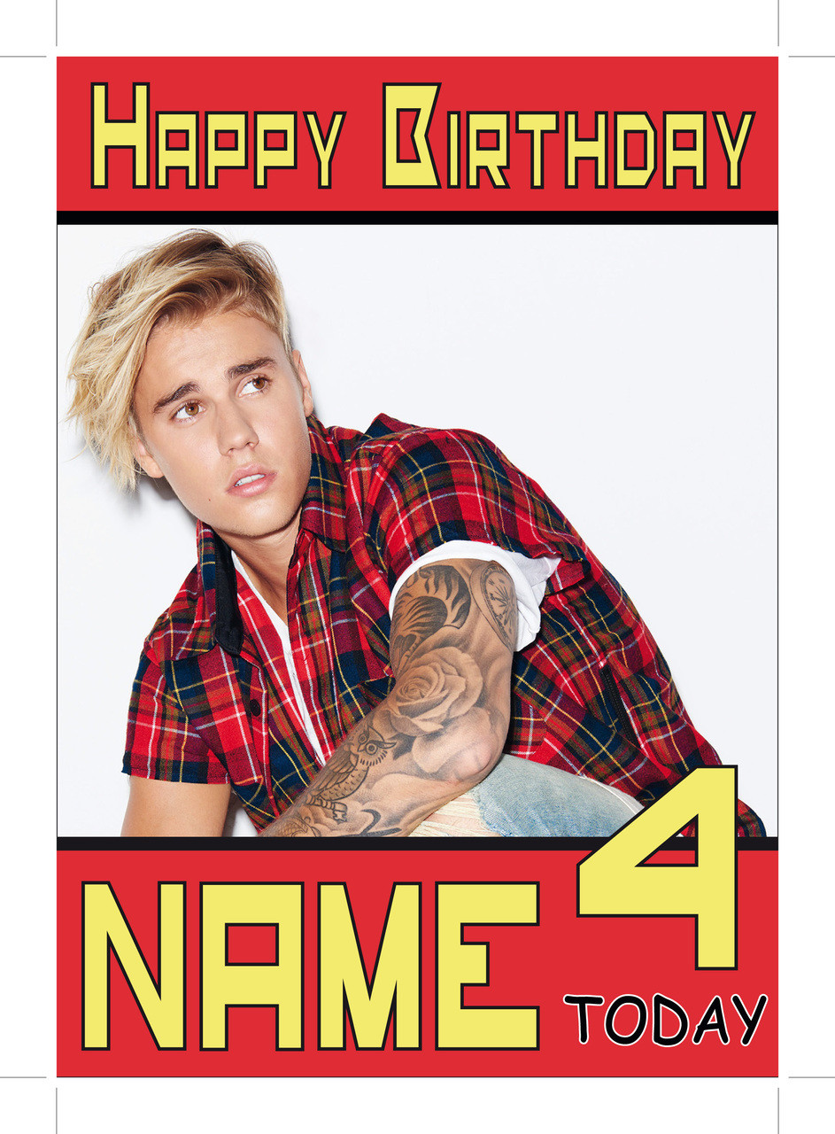 Justin Bieber Red Shirt Personalised Birthday Card