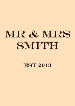 Mr And Mrs Smith 2013 Birthday Card