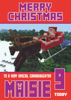 Minecrafting Theme Granddaughter Christmas Card