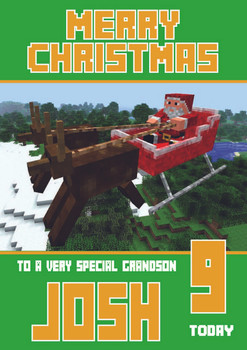 Minecrafting Theme Grandson Christmas Card