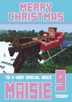 Minecrafting Theme Neice Christmas Card