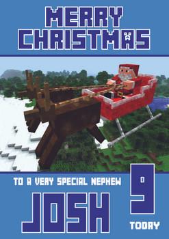 Minecrafting Theme Nephew Christmas Card