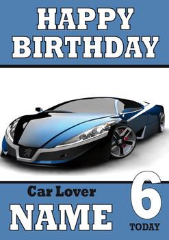 Personalised Car Card 2 Sports Car Birthday Card